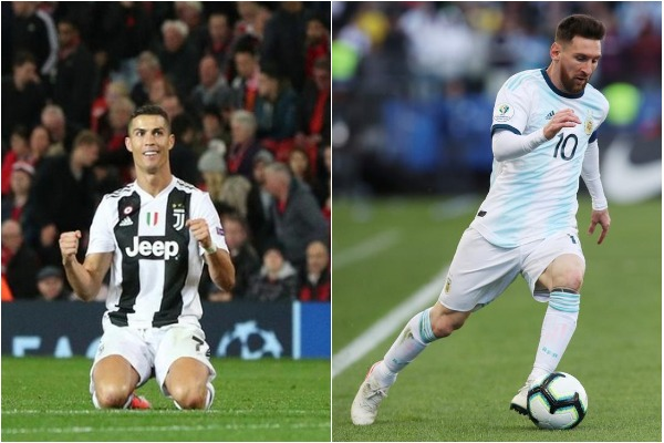 Cristiano Ronaldo (L) and Lionel Messi (R)