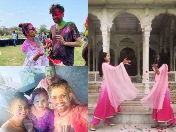 Actor Vidya Balan, Sara Ali Khan and Kangana Ranaut celebrating Holi (Image source: Instagram)