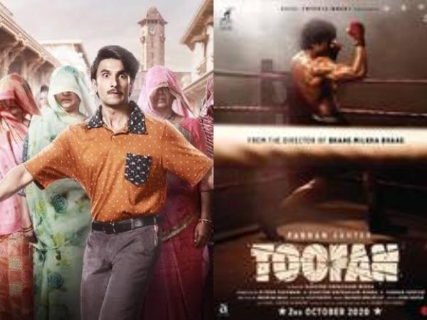 Posters of films 'Jayeshbhai Jordaar' and 'Toofan'