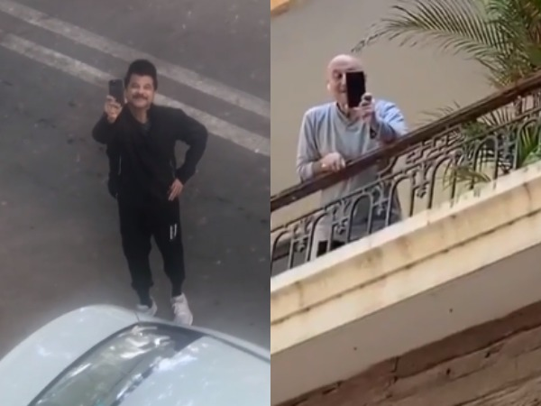 Actors Anil Kapoor and Anupam Kher practicing social distancing while interacting (Image Source: Instagram)