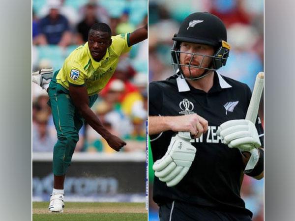 South African pacer Kagiso Rabada and New Zealand batsman Martin Guptill (L-R)