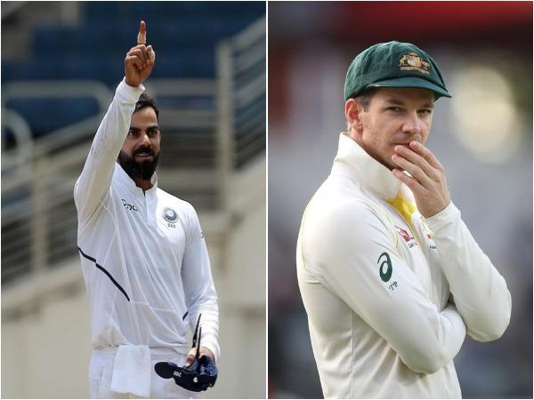 India skipper Virat Kohli (L) and Australia captain Tim Paine (R)
