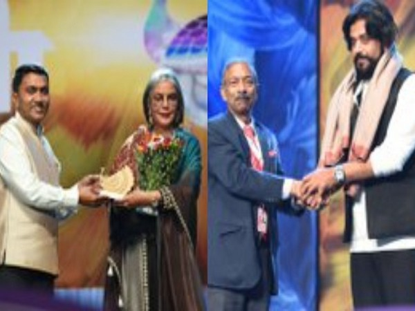 Actors Zeenat Aman and Ravi Kishan being felicitated at closing ceremony of IFFI (Image Source: PIB)