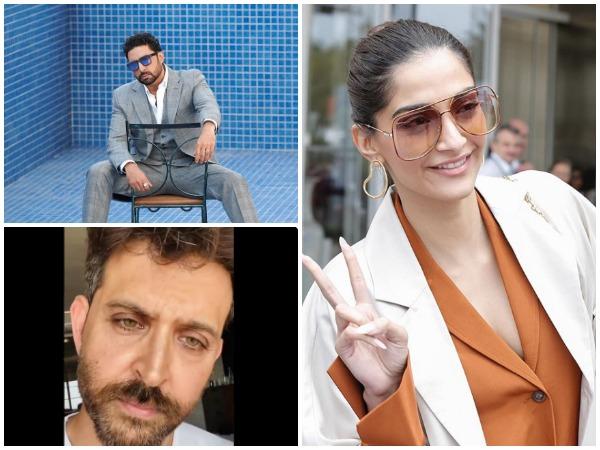 Actors Sonam Kapoor, Abhishek Bachchan, and Hrithik Roshan (Image courtesy: Instagram)