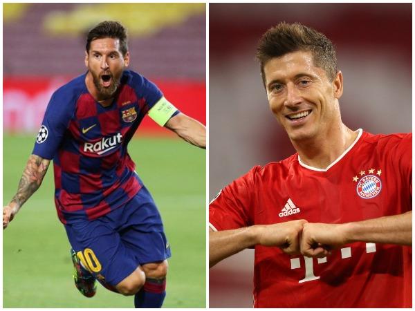 Lionel Messi (L) and Robert Lewandowski (R) (Photo/Barcelona FC, Champions League Twitter)