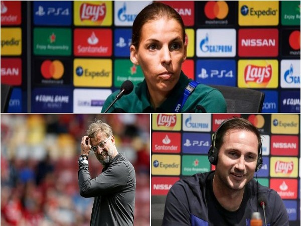 Female referee Stephanie Frappart, Liverpool manager Jurgen Klopp and Chelsea manager Frank Lampard