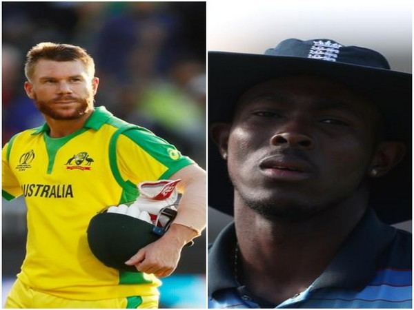 Australia batsman David Warner(L) and England pacer Jofra Archer (R)
