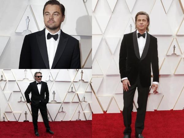 Actors Joaquin Phoenix, Leonardo DiCaprio, and Brad Pitt on the red carpet of Oscars 2020