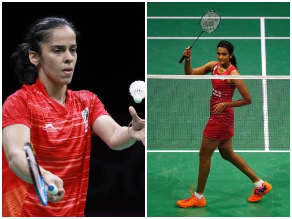 Saina Nehwal (L) and PV Sindhu (R)