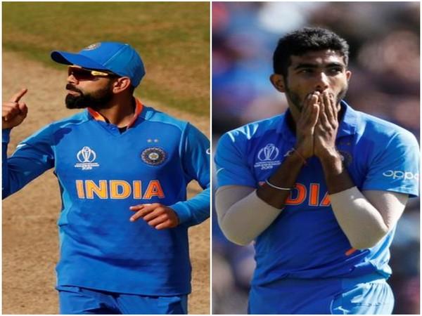 India skipper Virat Kohli (L) and pacer Jasprit Bumrah (R)