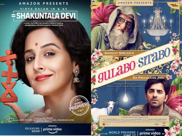 Posters of films 'Shakuntala Devi' and 'Gulabo Sitabo' (Image Source: social media)