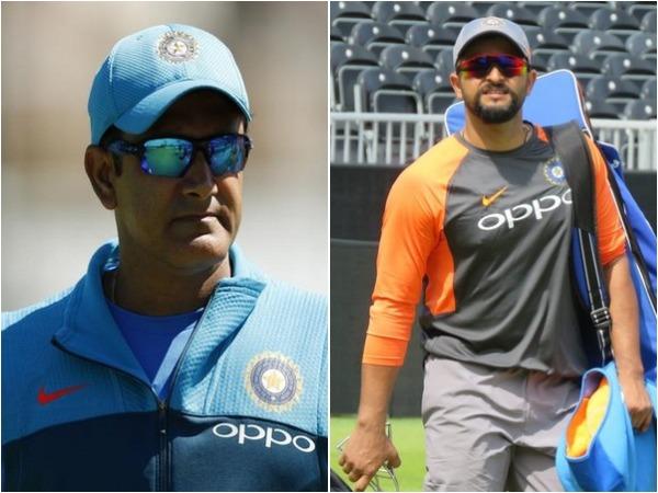 Anil Kumble (L) and Suresh Raina (R)