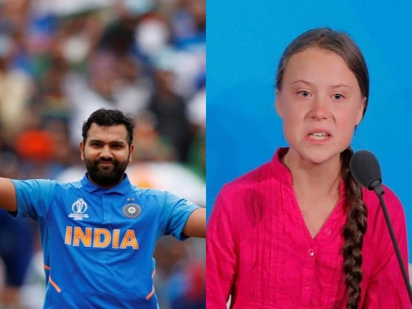 Rohit Sharma (L) and Greta Thunberg (R)