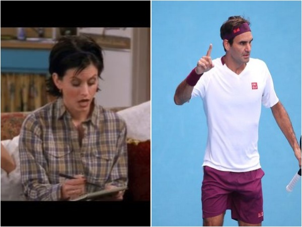 FRIENDS character Monica Geller (L) (Image source: Friends Instagram) and Roger Federer (R)
