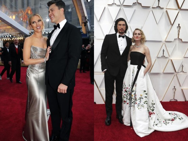 Scarlett Johansson with Colin Jost and Adam Driver with Joanne Tucker at the red carpet of Oscars 2020.
