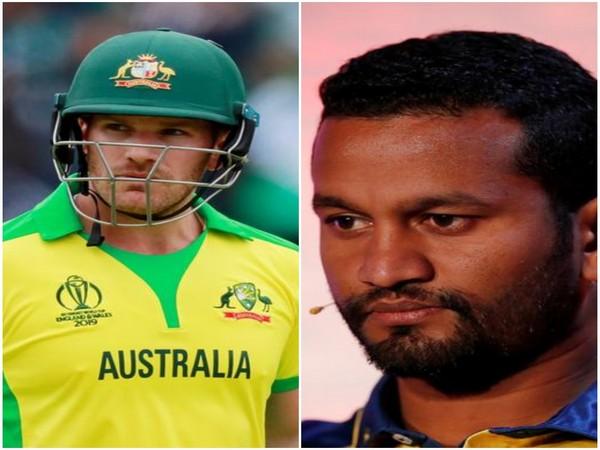 (L-R) Australian skipper Aaron Finch and Sri Lankan skipper Dimuth Karunaratne