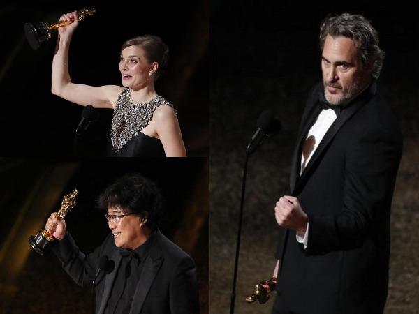 Hildur Gudnadottir, Bong Joon Ho, Joaquin Phoenix at the Oscar Award ceremony