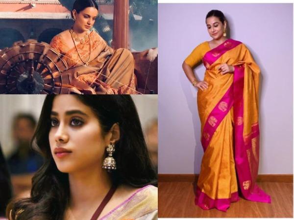 Actors Kangana Ranaut, Vidya Balan and Janhvi Kapoor wearing their favourite handloom sarees (Image Source: Social Media)