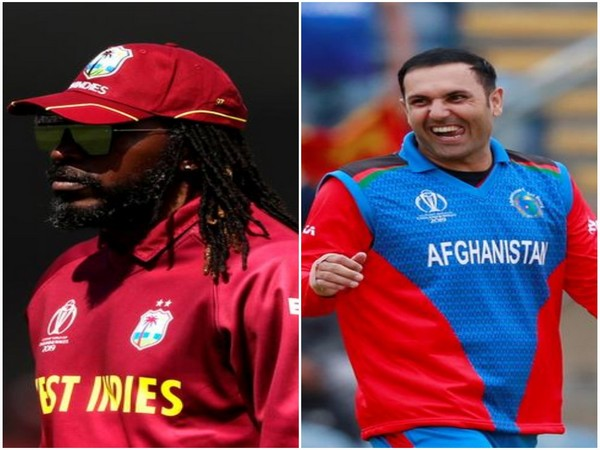 West Indies opener Chris Gayle (R) and Afghanistan all-rounder Mohammad Nabi (L)