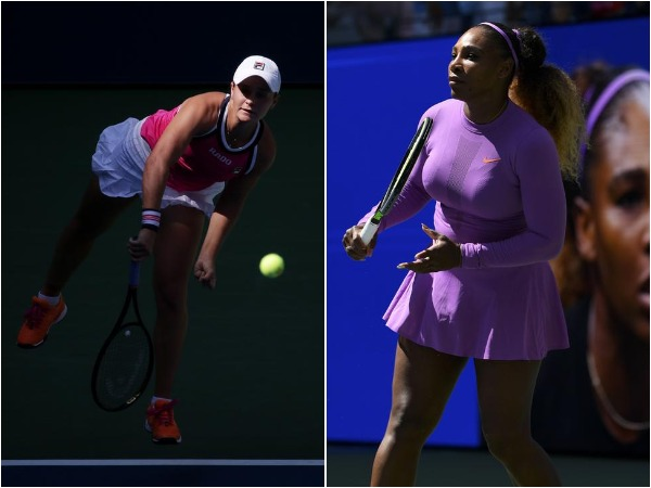 Ashleigh Barty (L) and Serena Williams (R)