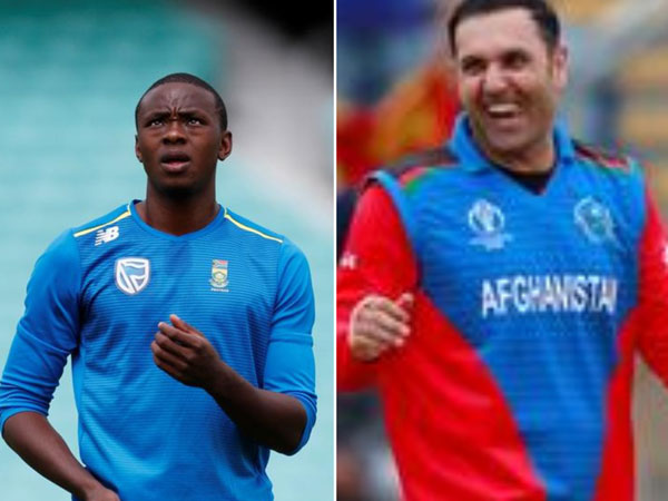 (L-R) South Africa's pacer Kagiso Rabada and Afghanistan's all-rounder Mahammad Nabi
