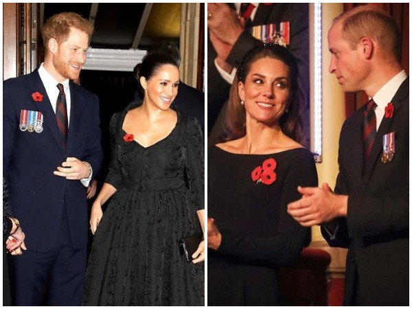 Prince Harry and Meghan Markle (L) Prince William and Kate Middleton (R)