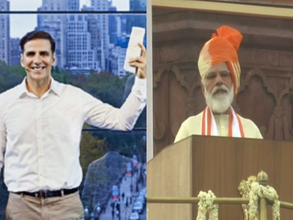 A still from film 'Padman' featuring Akshay Kumar and Prime Minister Narendra Modi addressing the country on 74th Independence Day (Image Source: Social Media & ANI)