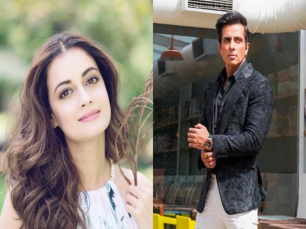 Actors Dia Mirza and Sonu Sood.