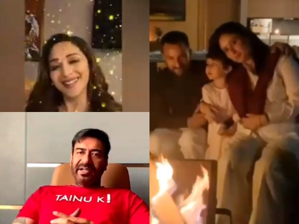 Actors Ajay Devgn, Madhuri Dixit Nene, and Kareena Kapoor Khan with Saif Ali Khan and son Taimur Ali Khan (Image Source: Instagram/Twitter)