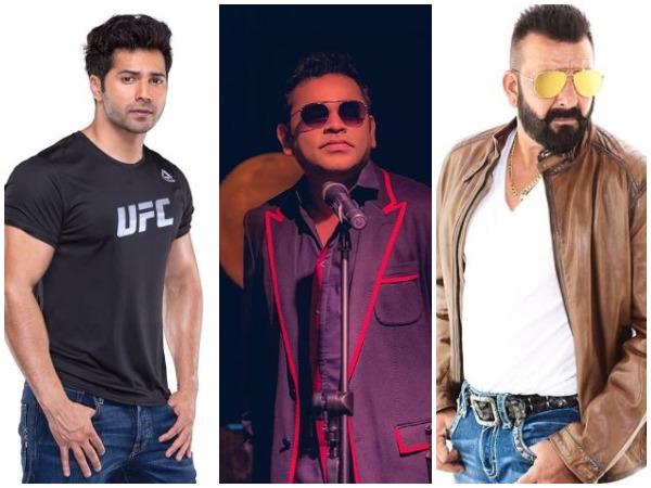 Varun Dhawan, AR Rahman, and Sanjay Dutt (Image Courtesy: Instagram)