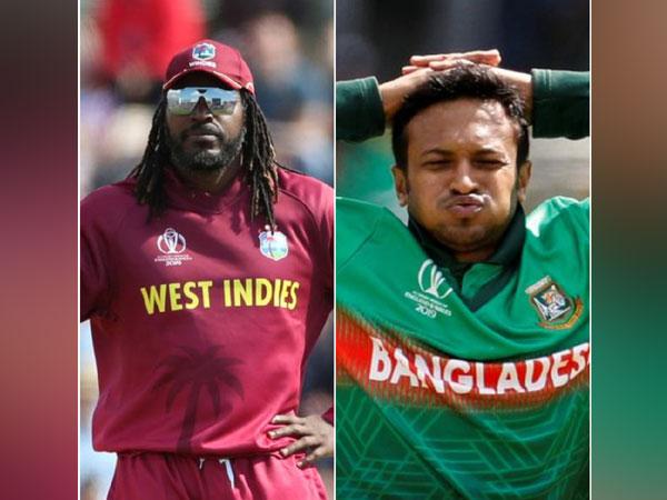 West Indies opener Chris Gayle and Bangladesh all-rounder Shakib Al Hasan (L-R)