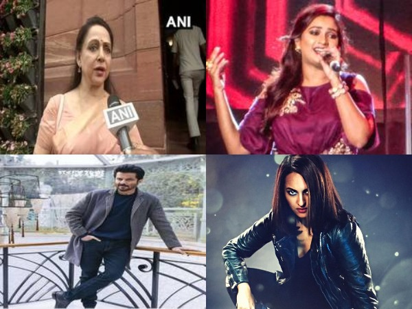 Bollywood actors Hema Malini, Anil Kapoor, Sonakshi Sinha and singer Shreya Ghoshal (Image Source: File photos and Sonakshi Sinha's Twitter)