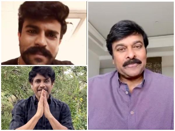 Stills from the videos shared by Telugu actors Chiranjeevi, Nagarjuna and Ram Charan (Image courtesy: Twitter)
