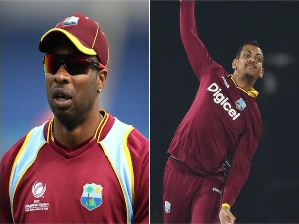 West Indies cricketers Keiron Pollard (L) and Sunil Narine (R)