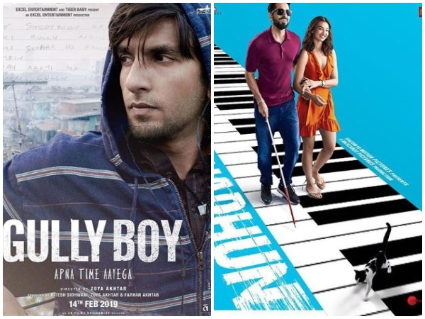 Gully Boy and Andhadhun posters (Image courtesy; Instagram)