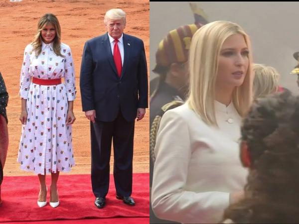 US first lady Melania Trump, President Donald Trump and Ivanka Trump at Rashtrapati Bhawan