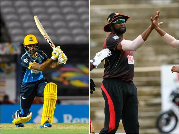 Barbados Tridents' Rashid Khan (L) and TKR skipper Kieron Pollard (R). (Photo/ CPL T20 Twitter)