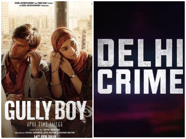Poster of Gully Boy and Delhi  Crime (Image courtesy: Instagram)
