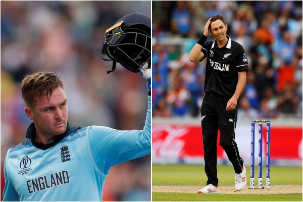 England's Jason Roy (L) and New Zealand's Trent Boult (R)