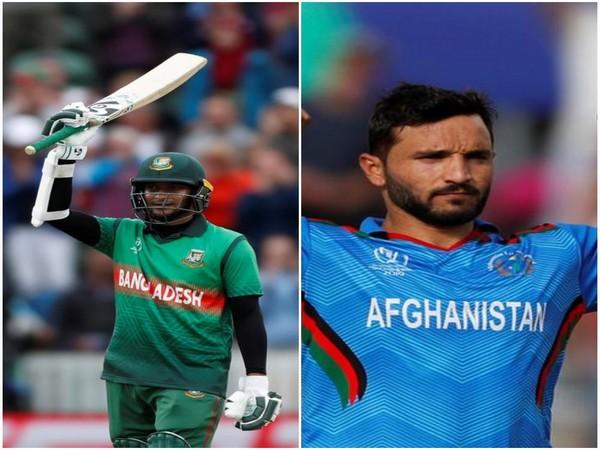Bangladesh's all-rounder Shakib Al Hasan and Afghanistan's skipper Gulbadin Naib (L-R)