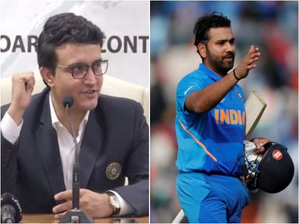 Sourav Ganguly (L) and Rohit Sharma (R)