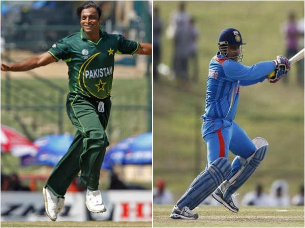 Shoaib Akhtar (L) and Virender Sehwag (R)