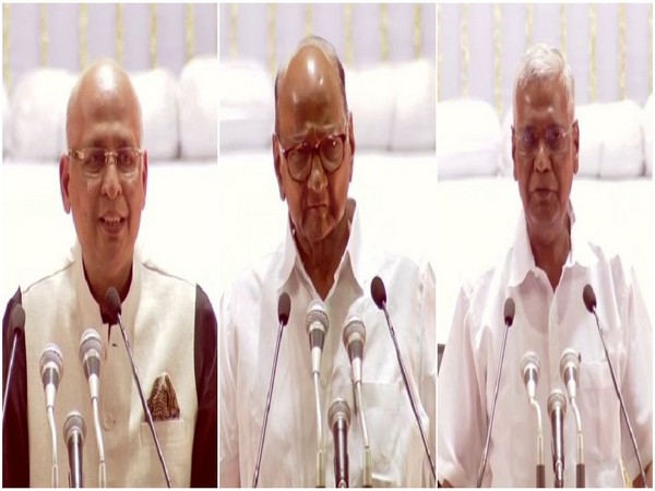 Opposition leaders Abhishek Manu Singhvi, Sharad Pawar and D Raja paying tribute to Arun Jaitley on Tuesday in a condolence meet in Delhi. Photo/ANI