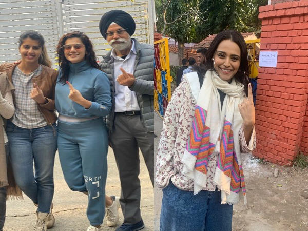 Bollywood celebrities Swara Bhaskar and Taapsee Pannu with her family (Image Source: Twitter)