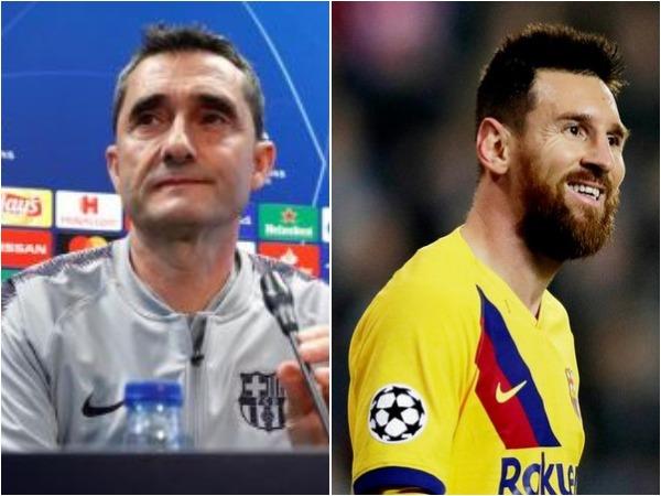 Ernesto Valverde (L) and Lionel Messi (R)