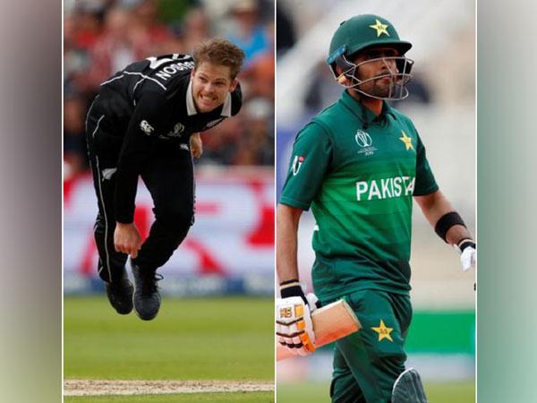 New Zealand pacer Lockie Ferguson (L) and Pakistani batsman Babar Azam (R)