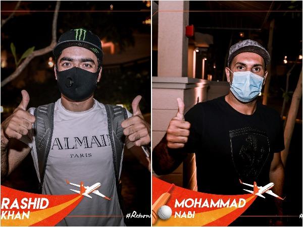 Rashid Khan (L) and Mohammad Nabi (R) (Photo/ SunRisers Hyderabad Twitter)