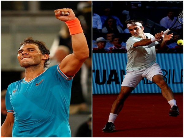 Tennis players Rafael Nadal and Roger Federer
