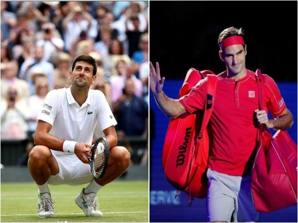 Novak Djokovic (L) and Roger Federer (R)