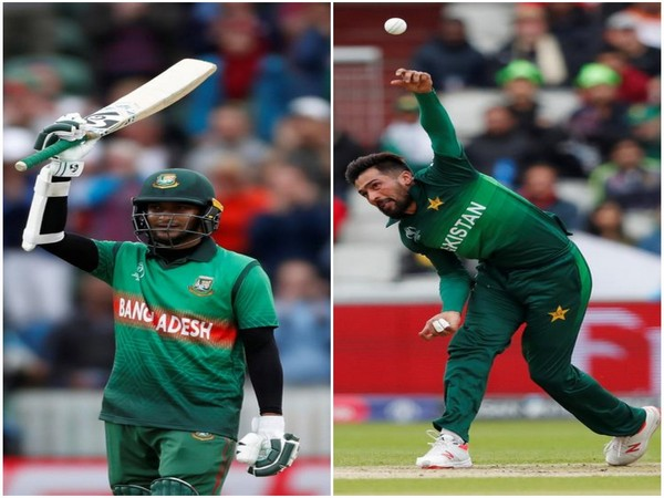 Bangladeshi all-rounder Shakib Al Hasan (L) and Pakistan's pacer Mohammad Amir (R)